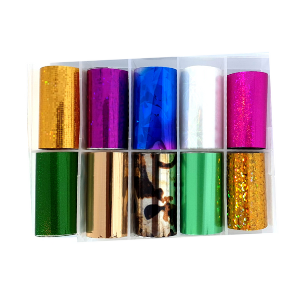 Nail Art Foil Transfers - 10 Pack Pink/Gold /Green Patterns freeshipping - Gel Nail Varnish