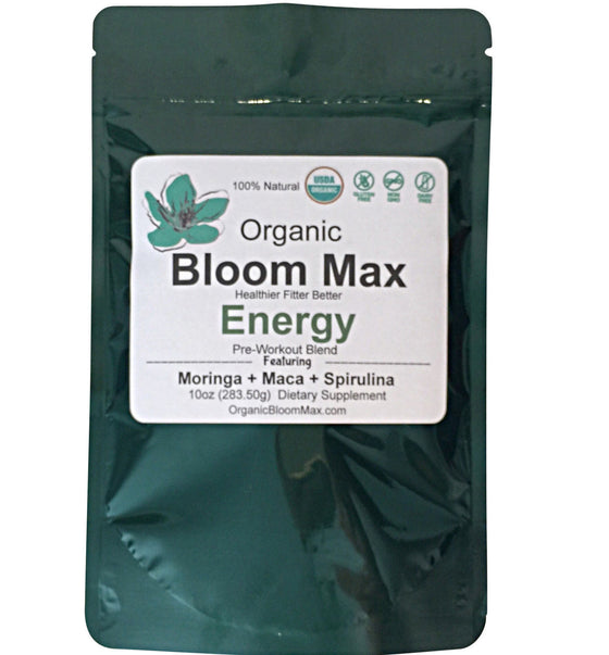 GREEN ENERGY WORKOUT PROTEIN BLEND Maca Spirulina Chia Superfood Blend - Organic Bloom Max