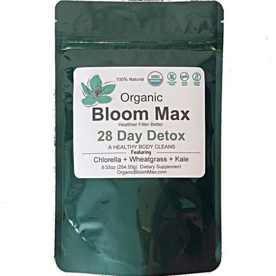 28 Day DETOX BLEND Chlorella Wheatgrass Superfood - Organic Bloom Max