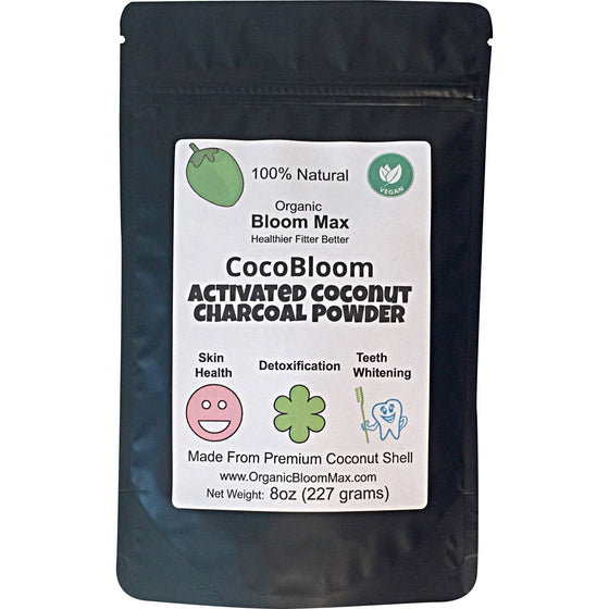 CocoBloom Activated Coconut Charcoal Powder Natural Teeth Whitener Facial Mask and Body Detoxifier
