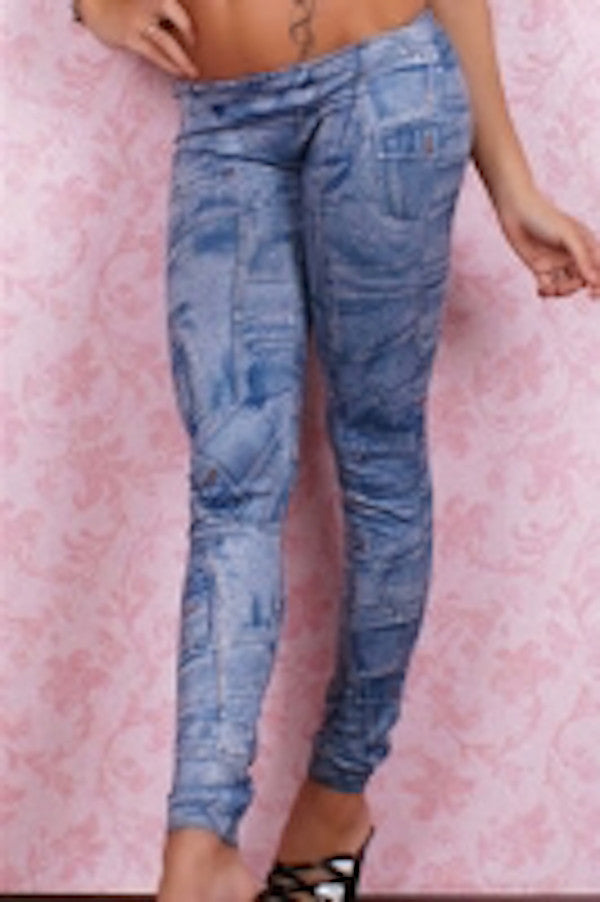Blue denim patch leggings - Organic Bloom Max