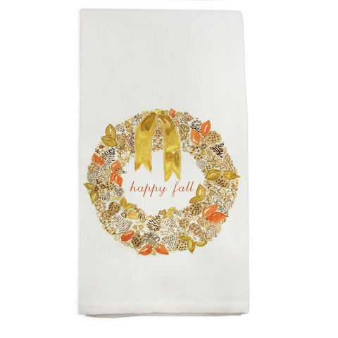 French Graffiti - Happy Fall Wreath Dishtowel