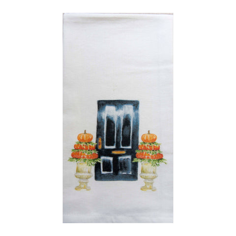 French Graffiti - Black Door with Pumpkin Topiaries Dishtowel