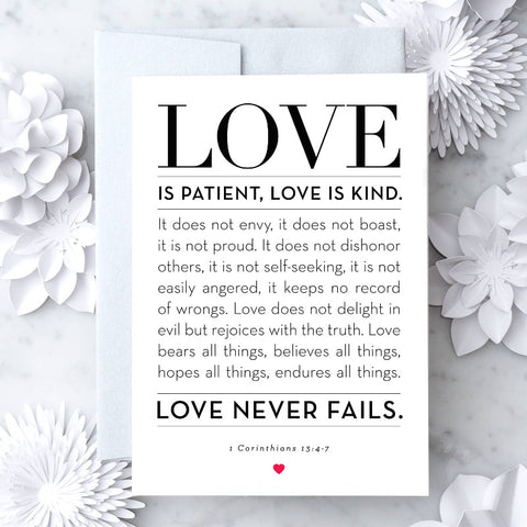 "Design With Heart -  ""1 Corinthians 13: 4-7"" Greeting Card"