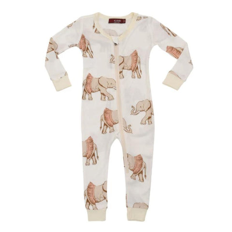 milk barn elephant zippered pj