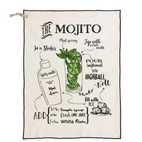 Shiraleah - MOJITO TEA TOWEL,WHITE