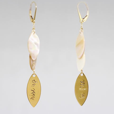 "Fiction Jewelry - ""rise up, be free"" mother of pearl earrings"