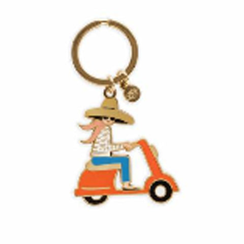 Rifle Paper Co. Floral Scooter Enamel Keychain