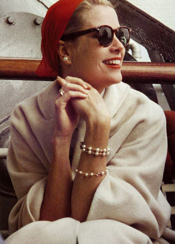 Grace Kelly Wearing Pearl Bracelets and Earrings