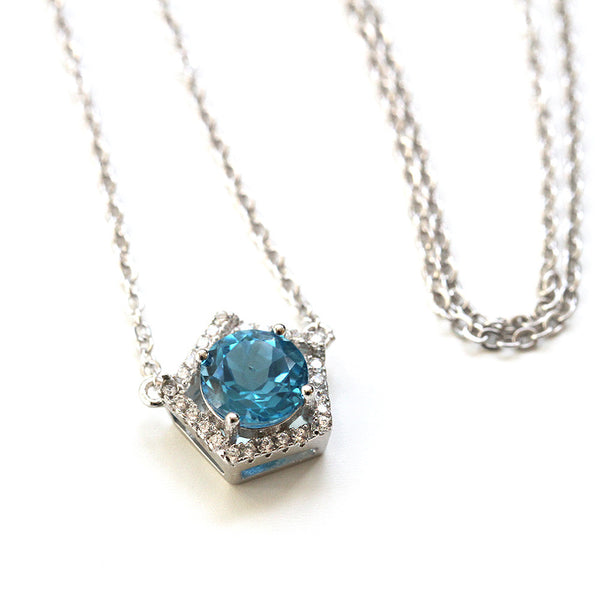 925 Sterling Silver Blue Topaz Necklace