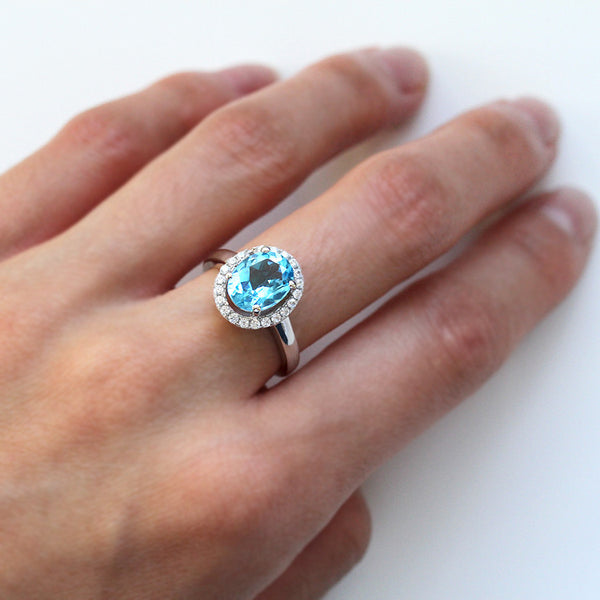 925 Sterling Silver Blue Topaz Ring