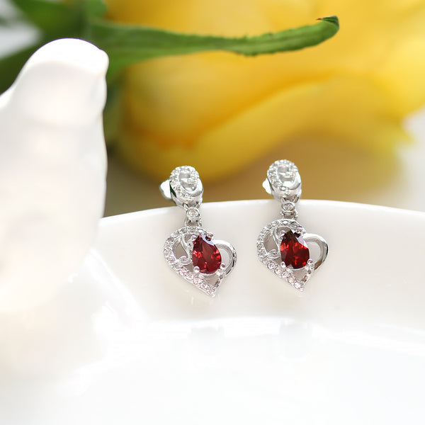 925 Sterling Silver Heart Earrings Garnet