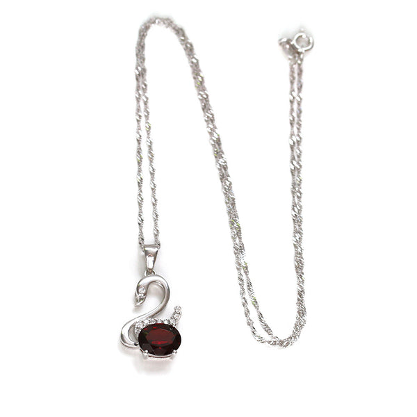 925 Sterling Silver Swan Necklace with Garnet
