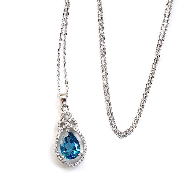 925 Sterling Silver Topaz and CZ Diamond Necklace