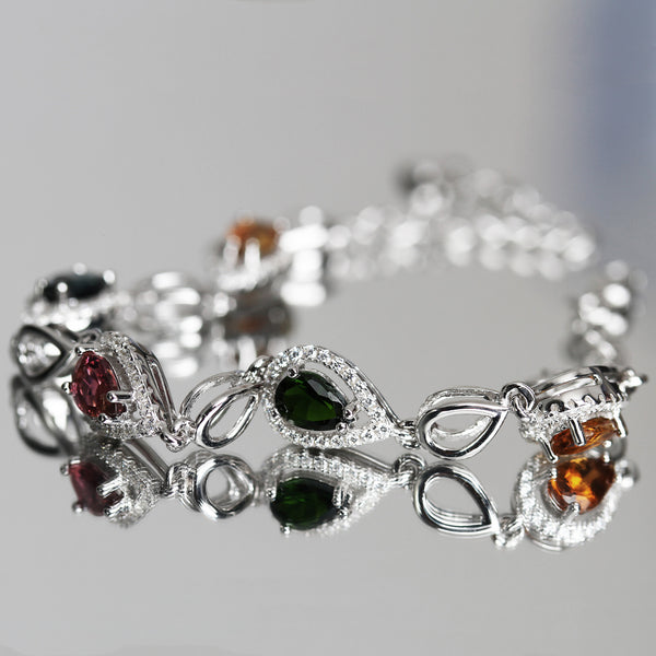 Teardrop tourmaline gemstone bracelet sterling silver