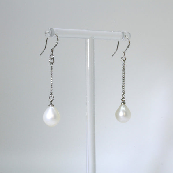 Genuine Freshwater White Pearl Chain Hook Sterling Silver Earrings
