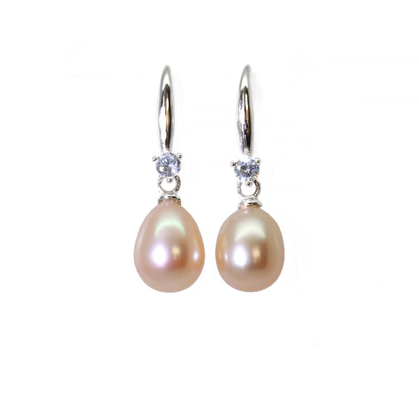 Natural freshwater pink peach tear drop pearl sterling silver 925 diamond earrings