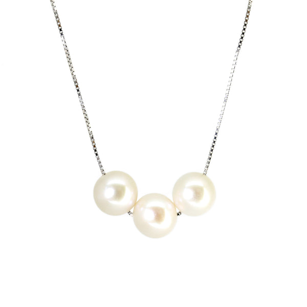 Triple White Freshwater Genuine Pearl Silver Chain Necklace