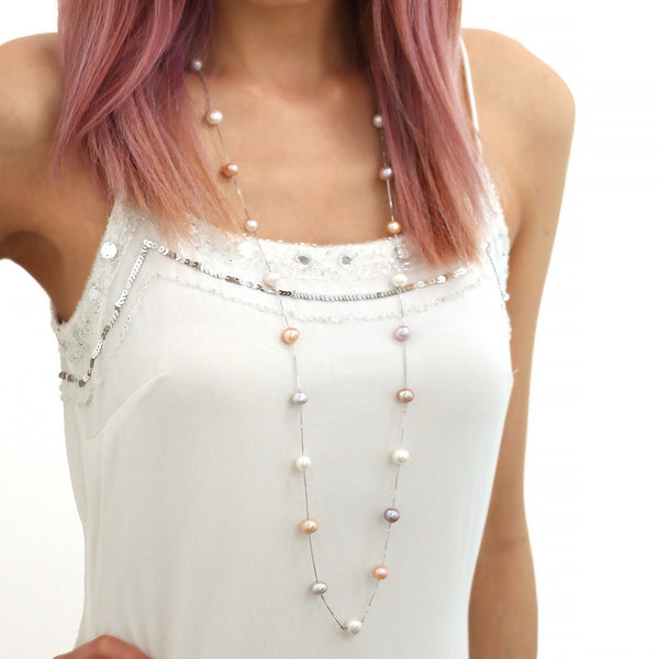 Genuine freshwater white pink peach lilac pearl necklace sterling silver long multiway