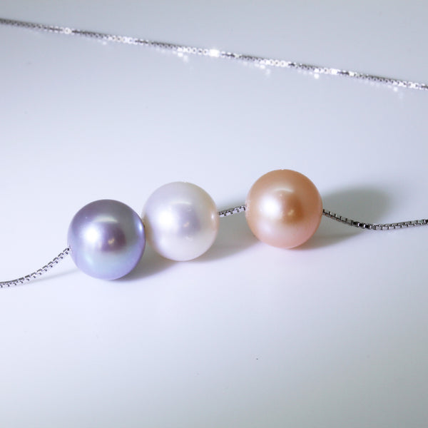 Genuine Pearl White Lilac Grey Peach Sterling Silver Pendant Necklace