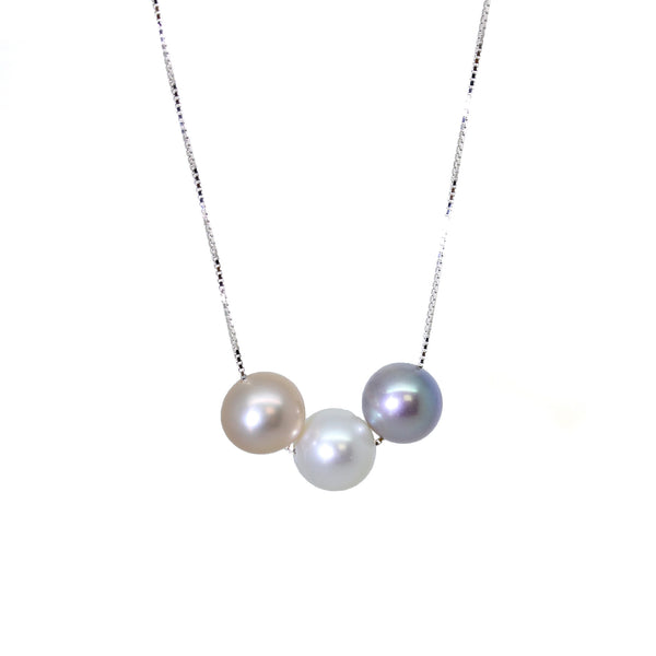 Freshwater Pearls White Lilac Grey Peach Pink Silver Pendant Necklace