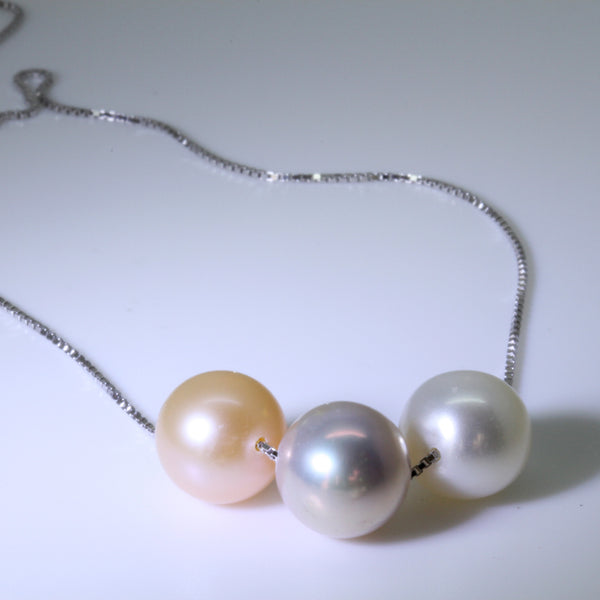 Natural Pearl White Lilac Grey Peach Pink Silver Pendant Necklac