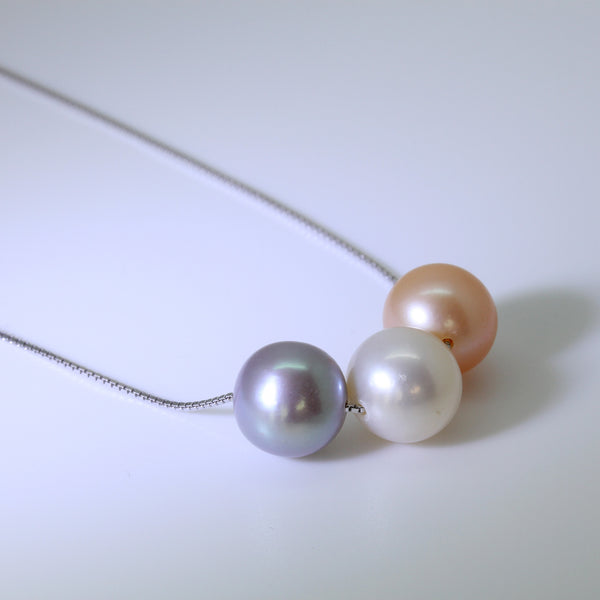 Akoya Pearl White Lilac Grey Peach Pink Silver Pendant Necklace