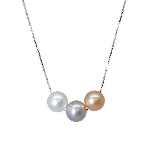 Freshwater Pearls White Lilac Grey Peach Silver Pendant Necklace
