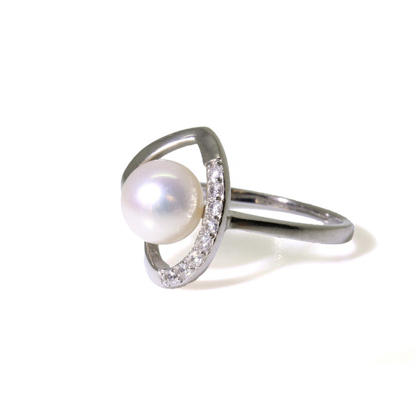 Genuine Freshwater Round Pearl Sterling Silver Heart Diamond Ring