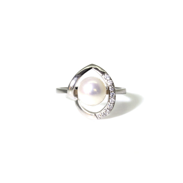 Pearlberry Jewellery Genuine Freshwater Pearl Sterling Silver Heart Ring
