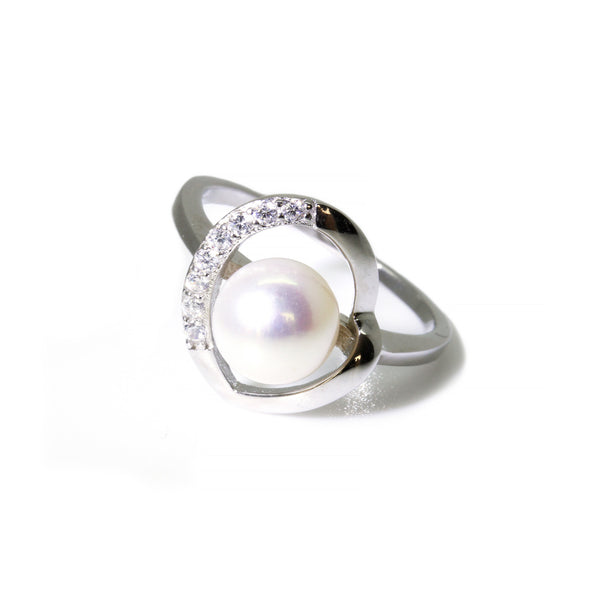 Genuine Freshwater White Round Pearl Sterling Silver Heart Ring