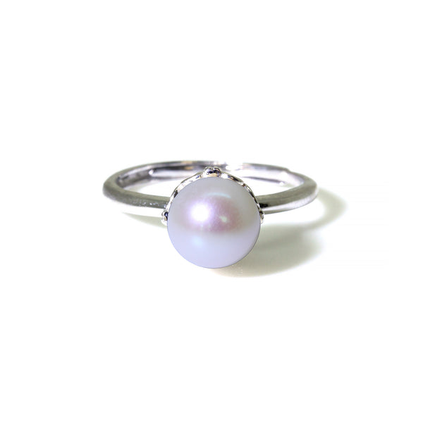 Freshwater Genuine White Round Pearl Sterling Silver Princess Ring