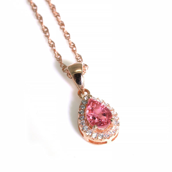 pale light pink pear cut tourmaline pendant rose gold silver necklace