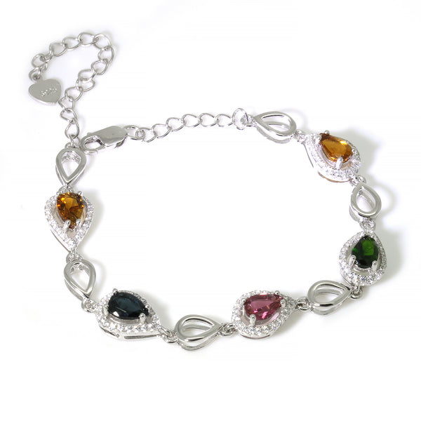 Watermelon teardrop tourmaline bracelet sterling silver