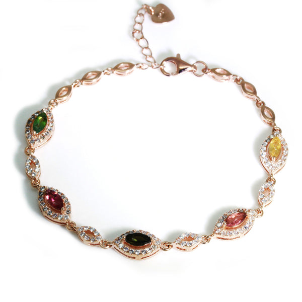 watermelon tourmaline rose gold bracelet