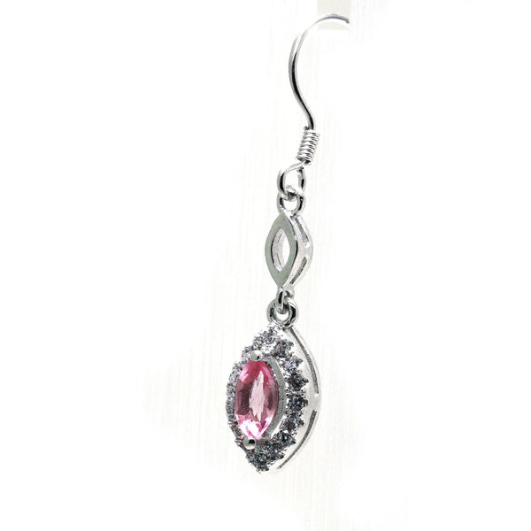 Sterling silver earring with marquise pink tourmaline gemstone