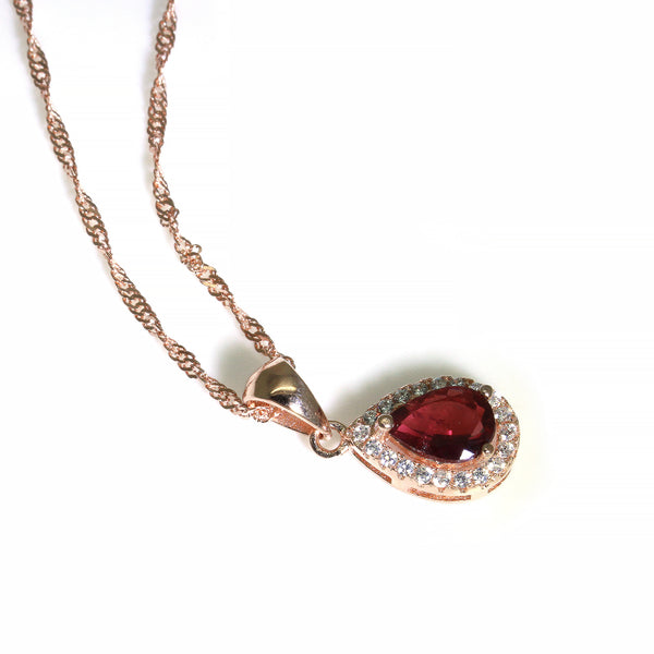 Dark pink teardrop tourmaline gemstone rose gold pendant necklace