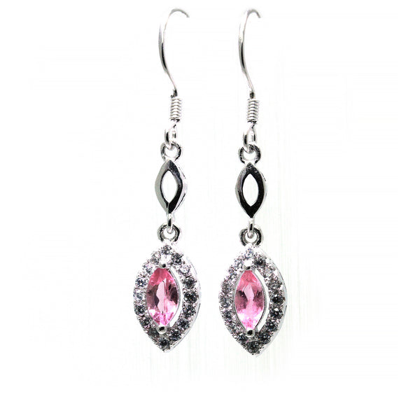 Marquise pink tourmaline sterling silver earrings