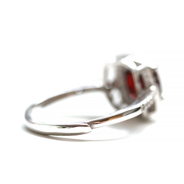Adjustable Garnet Ring Sterling Silver