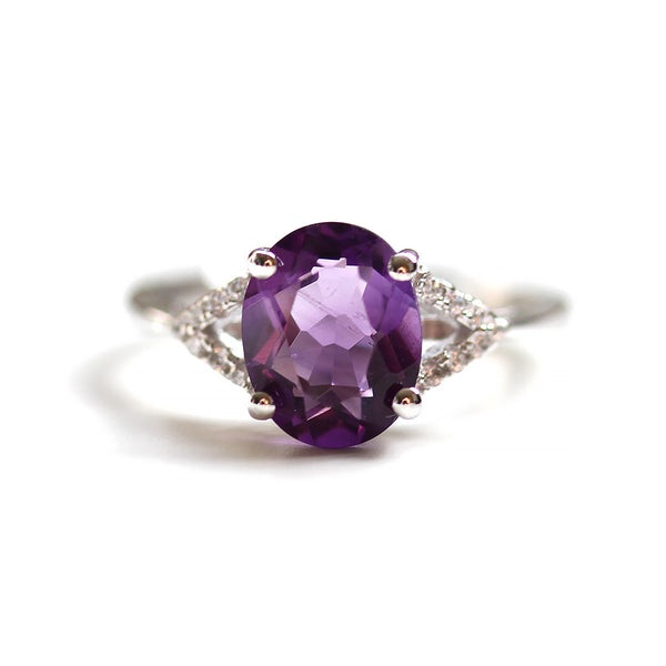 Amethyst Double Shank Ring