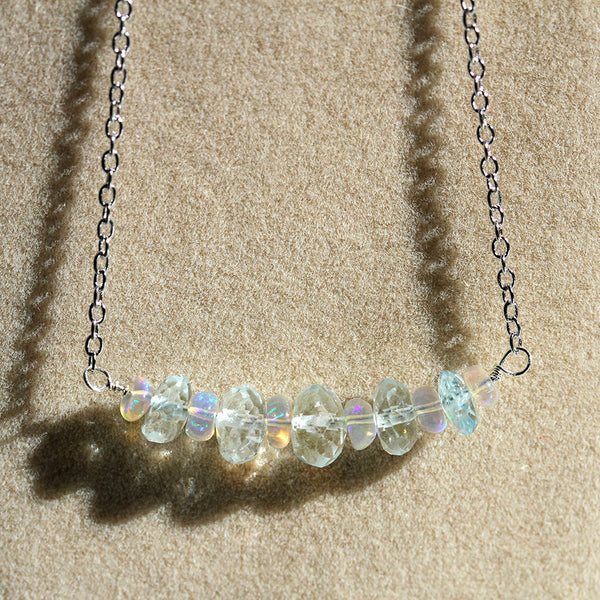 Aquamarine and Ethiopian Opal Necklace