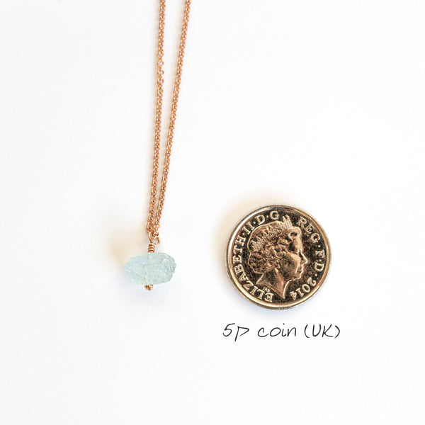 aquamarine necklace 5p coin