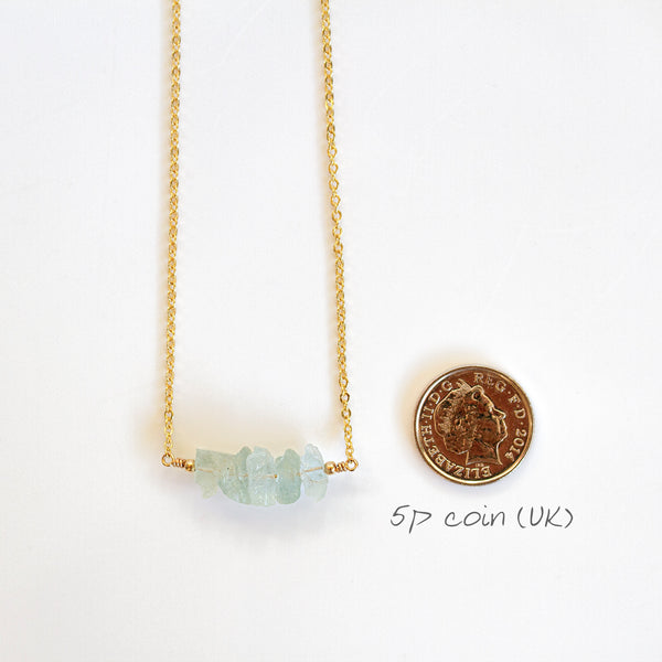 aquamarine necklace size comparison