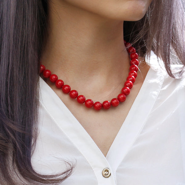 beaded red necklace large