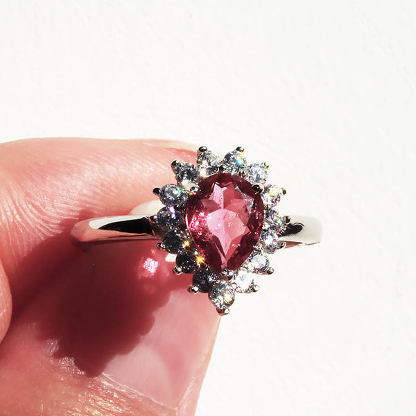 Beautiful Pink Tourmaline Gemstone Ring Pearlberry Jewellery