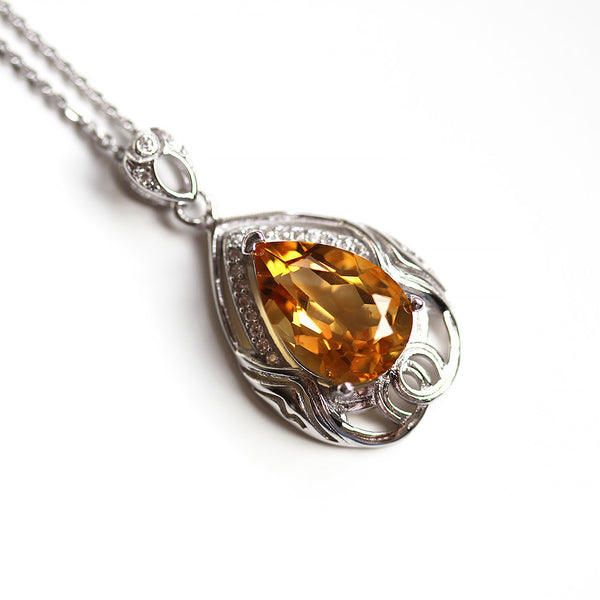 Big Teardrop Citrine Necklace Silver