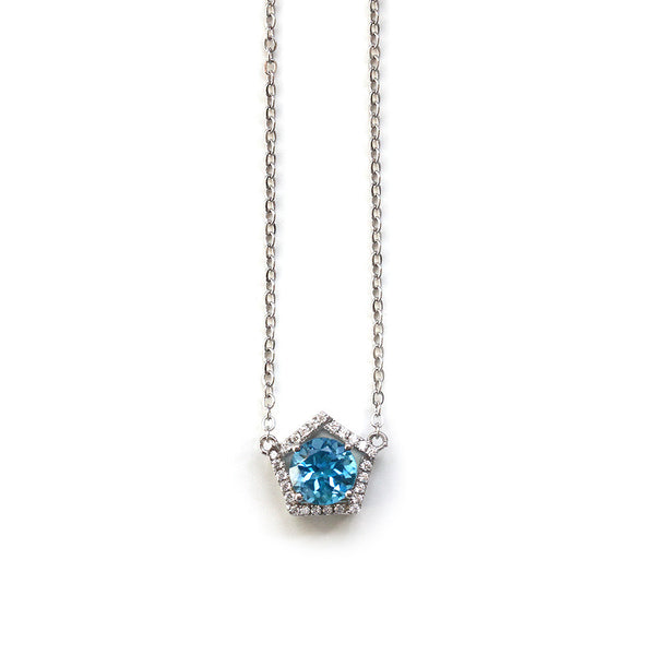 Blue Topaz Geometric Necklace
