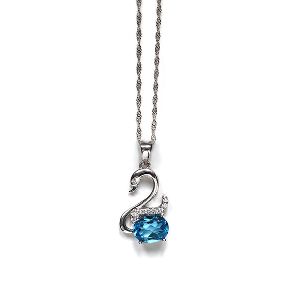 Blue Topaz Swan Necklace