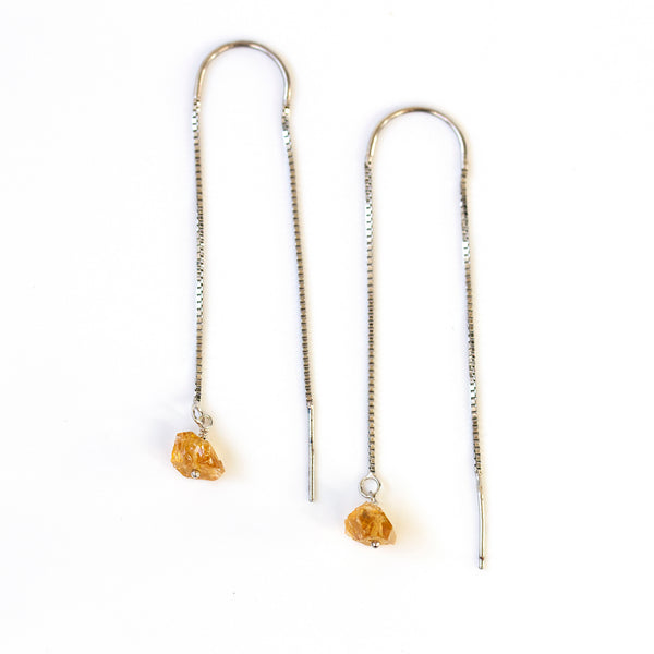 citrine earrings silver threaders