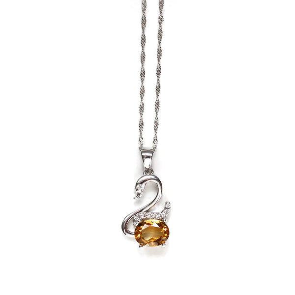 Citrine Swan Necklace